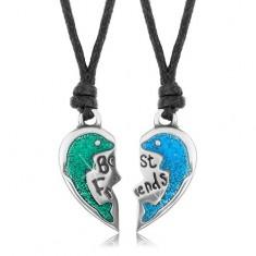 Sada náhrdelníků, poloviny srdce s delfíny, zelená a modrá glazura, Best Friends