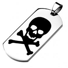 Ocelová známka stříbrné barvy, černá glazovaná lebka, překřížené kosti
