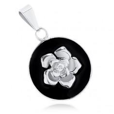 Přívěsek z oceli 316L, matný černý kruh, lesklá růže stříbrné barvy