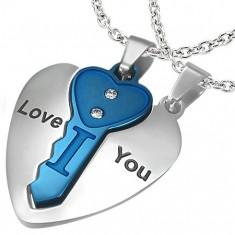 Ocelový dvojpřívěsek, srdce stříbrné barvy s modrým klíčkem, nápis, zirkony