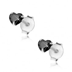 Stříbrné 925 náušnice, černé zirkonové srdíčko, 4 mm, puzetky I30.27