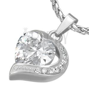 Přívěsek z oceli zirkonové srdce s polovinou srdce