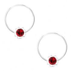 Kruhové náušnice, stříbro 925, červený kvítek, krystalek Swarovski