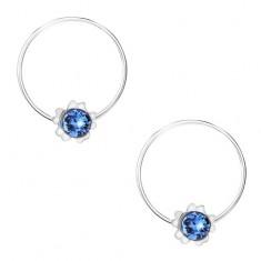 Stříbrné náušnice 925, modrý kulatý krystalek Swarovski, kvítek