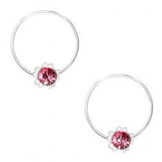 Kruhové náušnice ze stříbra 925, růžový kvítek, kulatý krystal Swarovski