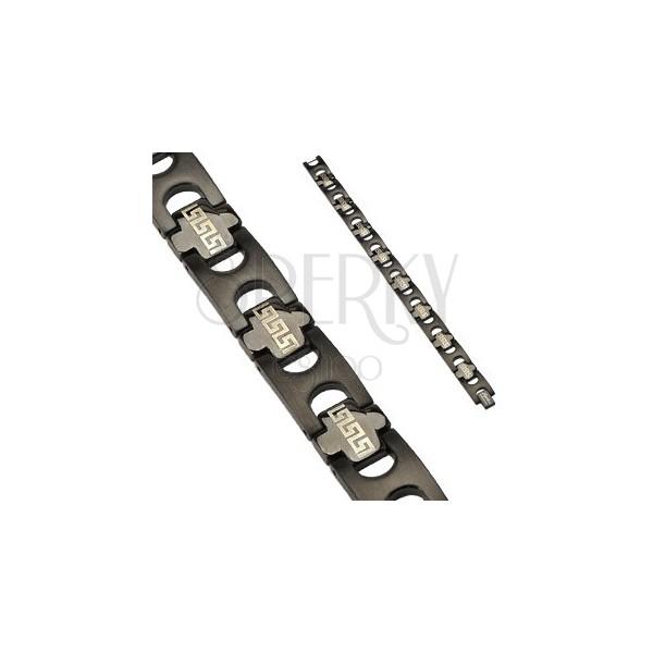 Náramek z chirurgické oceli IP Tribal Link - černý