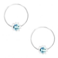 Kruhové náušnice, stříbro 925, světle modrý krystal Swarovski, květ