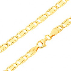Náramek ze žlutého 14K zlata - větší ploché články, rýhy, obdélník, 195 mm