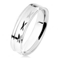 Prsten ze stříbra 925, lesklý povrch se zářezy, tenké linie