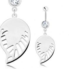 Piercing - chirurgická ocel, stříbrný odstín, přívěsek - lesklé křídlo s výřezy SP26.19