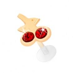 Zlatý labret 585 do brady a rtu - třešničky z červených zirkonků