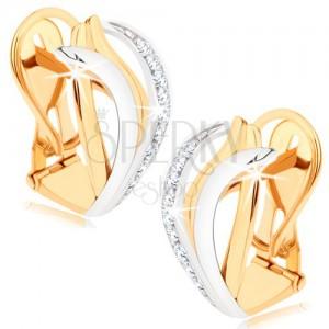 Dvoubarevné zlaté náušnice 375 - asymetricky zvlněné linie, čiré zirkonky