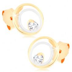 Puzetové náušnice v 9K zlatě - dvoubarevné kruhy, čirý zirkonek GG57.08