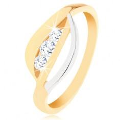 Zlatý prsten 375 - dvoubarevné zvlněné linie, tři kulaté zirkony čiré barvy