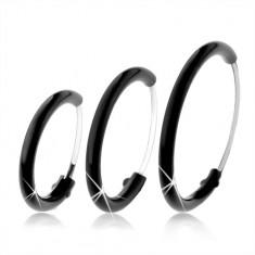 Kruhové náušnice ze stříbra 925 pokryté černou glazurou, různé velikosti