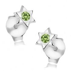 Stříbrné 925 náušnice, Davidova hvězda, kulatý zelený krystal Swarovski I38.24