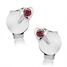 Stříbrné 925 náušnice, drobné srdíčko, kulatý červený krystal Swarovski I39.09