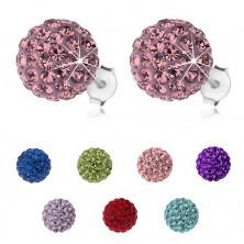 Stříbrné náušnice 925, třpytivé kuličky s krystaly Preciosa, 10 mm