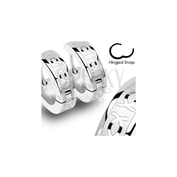 Ocelové náušnice s dvojitým CC - pár