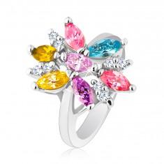 Prsten ve stříbrném odstínu zdobený barevnými a čirými zirkony R26.8