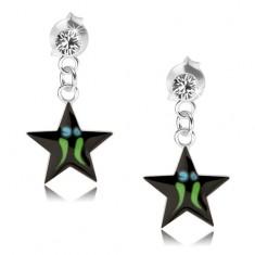 Stříbrné náušnice 925, černá hvězda - zelené proužky, čirý krystal Swarovski PC09.21
