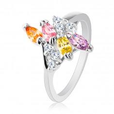 Prsten ve stříbrném odstínu zdobený různobarevnými zirkony R26.11