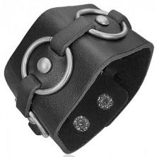 Černý kožený náramek - kovové kruhy
