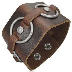 Hnědý kožený náramek - kovové kruhy