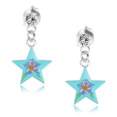 Puzetové náušnice ze stříbra 925, lesklá modrá hvězda, barevný kvítek, krystal PC05.35