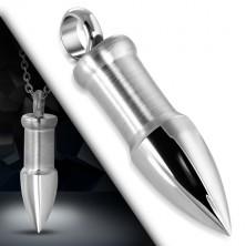 Přívěsek z oceli ve stříbrném barevném odstínu - nábojnice s lesklým, špičatým hrotem