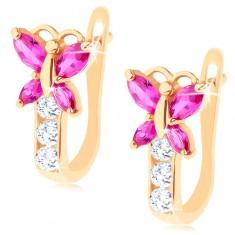 Náušnice ve žlutém 14K zlatě - blýskavý zirkonový motýlek růžové barvy