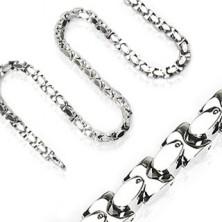 """Řetízek z chirurgické oceli, lesklé, kolmo pospojované články """"H"""", stříbrná barva"""