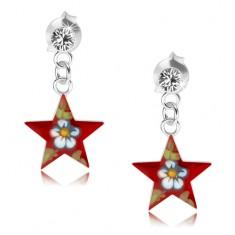Náušnice ze stříbra 925, červená hvězda s barevným kvítkem, krystal PC18.16