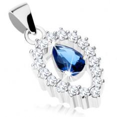 Stříbrný přívěsek 925, čirý obrys obrácené kapky, modrá zirkonová slza