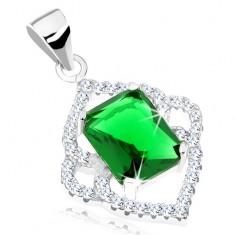 Stříbrný přívěsek 925, smaragdově zelený obdélník, čirý špičatý lem