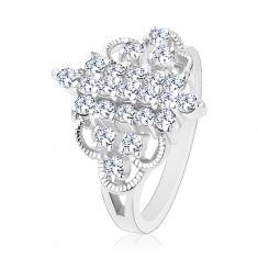 Prsten stříbrné barvy, vertikální zirkonové proužky, zaoblené gravírované linie R37.27