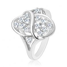 Prsten stříbrné barvy, lesklý ovál zdobený vlnkou a blýskavými zirkony R38.5
