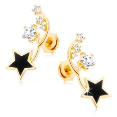 Náušnice ve žlutém 14K zlatě - dva tenké obloučky, černá a zirkonová hvězdička