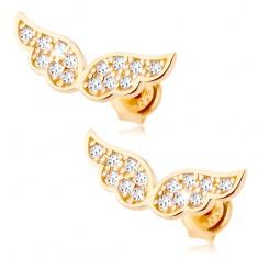 Zlaté náušnice 585 - třpytivá andělská křídla vykládaná čirými zirkonky