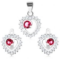 Stříbrný 925 set - náušnice a přívěsek, čirý obrys srdce, kulatý růžový zirkon
