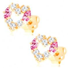 Náušnice ze žlutého 14K zlata - kontura srdce zdobená čirými a růžovými zirkony GG103.16