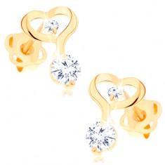 Náušnice ze žlutého 14K zlata - kontura srdce s prodlouženou linií, čiré zirkony GG103.14