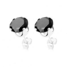 Puzetové náušnice, stříbro 925, kulatý zirkon černé barvy, 7 mm