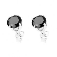 Náušnice ze stříbra 925, kulatý černý zirkon v kotlíku, 6 mm