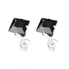 Puzetové náušnice, stříbro 925, zirkonový čtverec černé barvy, 6 mm