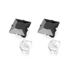 Stříbrné náušnice 925, blýskavý čtvereček z černého zirkonu, 5 mm
