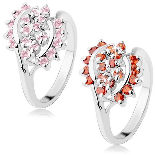Levně Lesklý prsten stříbrné barvy zdobený broušenými zirkonky, lesklé oblouky - Velikost: 52, Barva: Oranžová