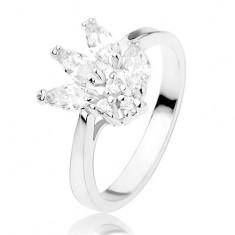 Lesklý prsten zdobený třpytivými zirkony čiré barvy, hladká ramena R41.12