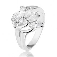 Třpytivý prsten ve stříbrném odstínu zdobený obloučky a čirými zirkony R41.24