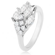 Prsten zdobený zrníčkovitými a kulatými zirkony čiré barvy, lesklá ramena R31.24